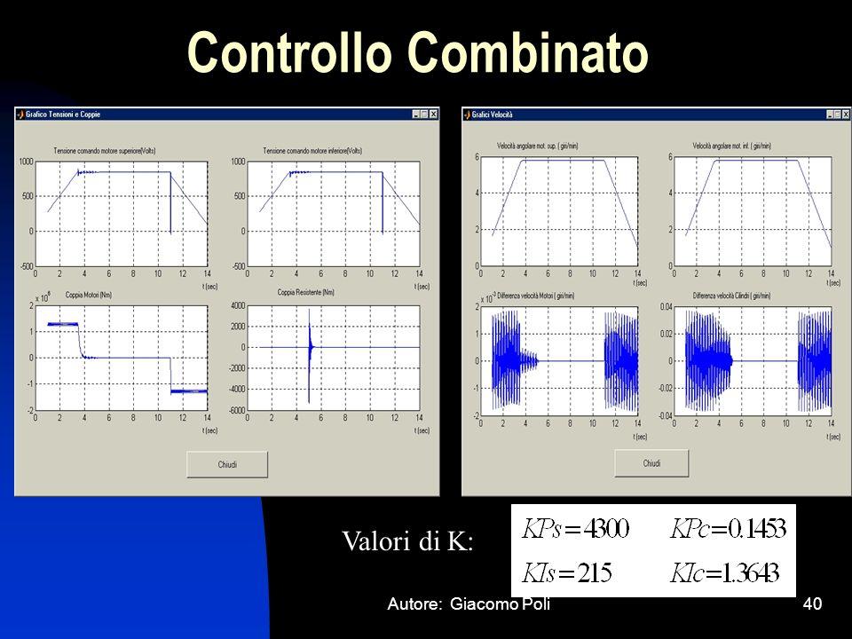Controllo Combinato Valori di K: Autore: Giacomo Poli