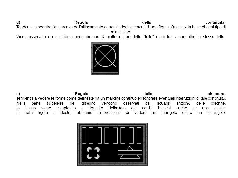 d) Regola della continuità: Tendenza a seguire l apparenza dell allineamento generale degli elementi di una figura.
