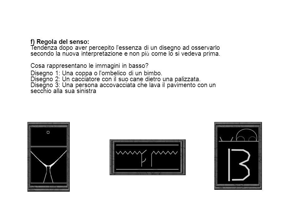 f) Regola del senso: Tendenza dopo aver percepito l essenza di un disegno ad osservarlo secondo la nuova interpretazione e non più come lo si vedeva prima. Cosa rappresentano le immagini in basso