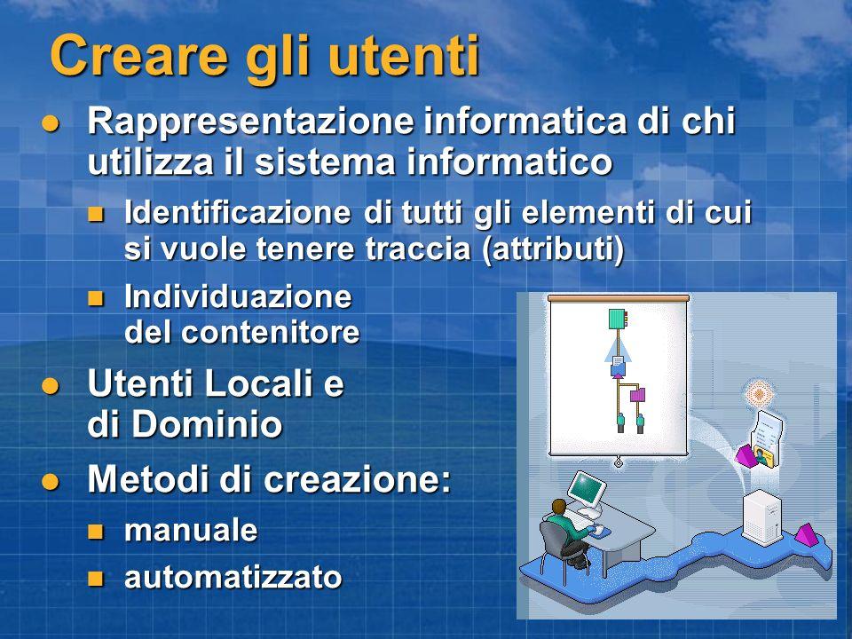 Creare gli utenti Rappresentazione informatica di chi utilizza il sistema informatico.