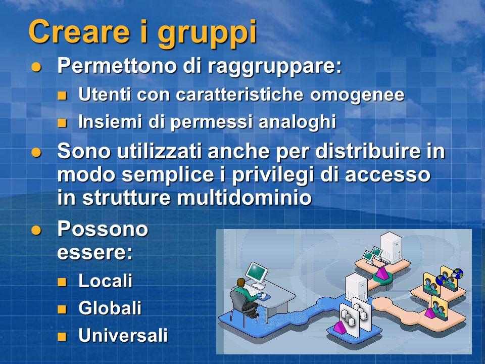 Creare i gruppi Permettono di raggruppare: