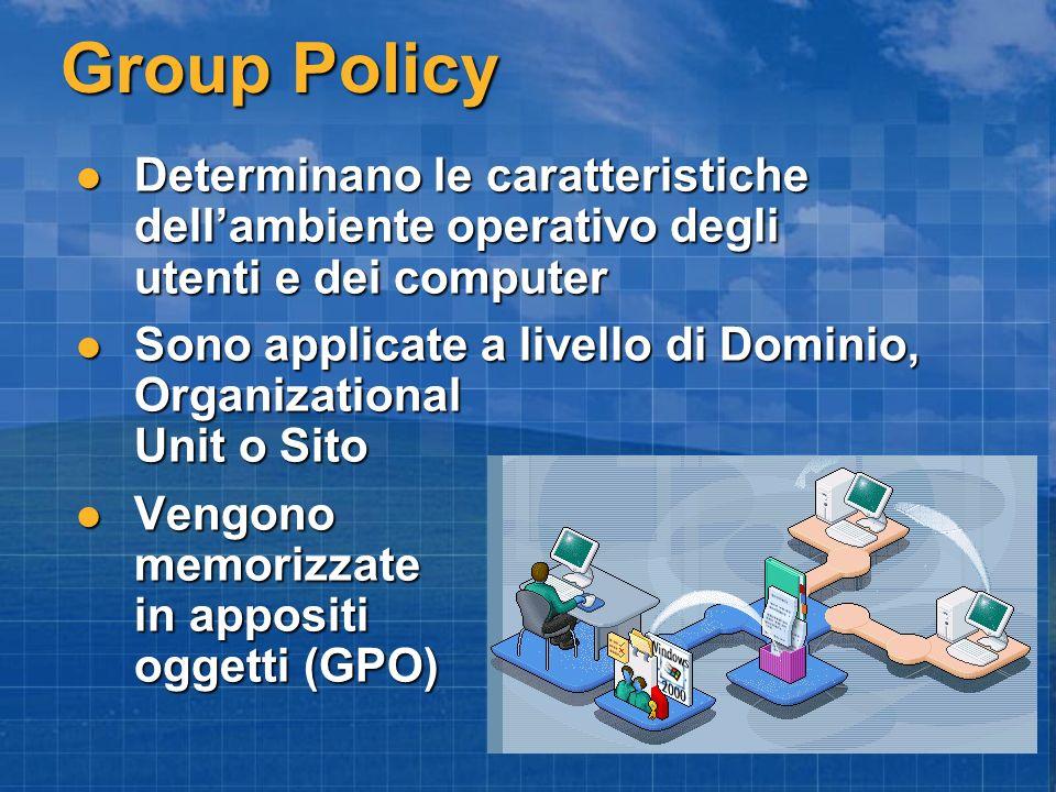 Group Policy Determinano le caratteristiche dell'ambiente operativo degli utenti e dei computer.
