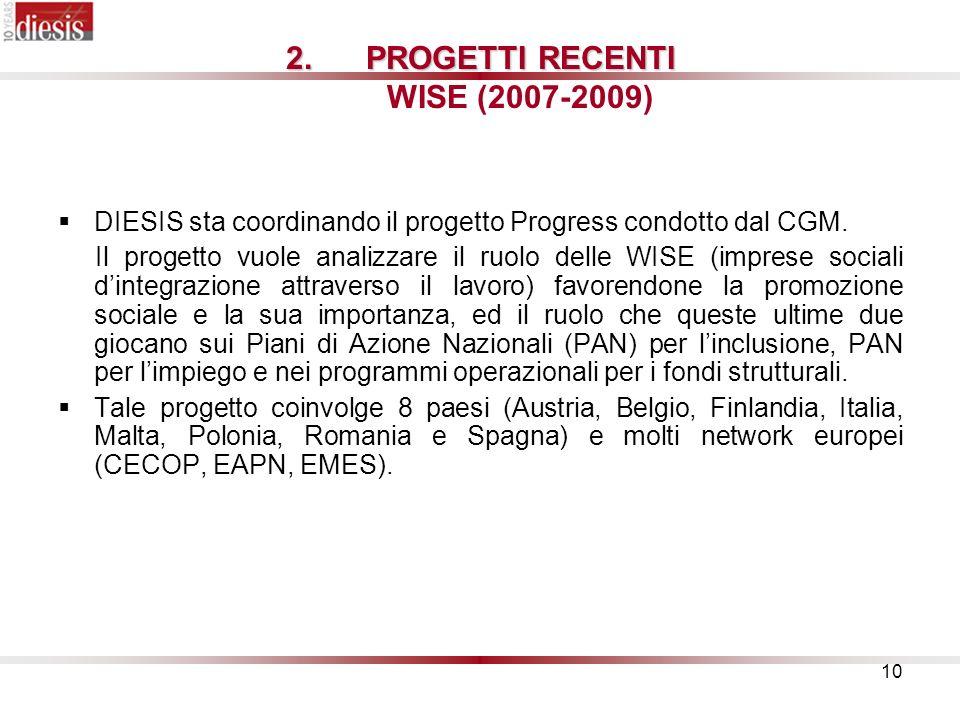 PROGETTI RECENTI WISE (2007-2009)