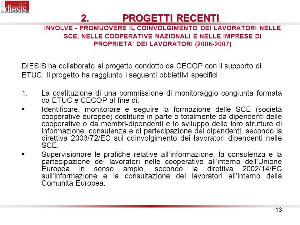 PROGETTI RECENTI INVOLVE - PROMUOVERE IL COINVOLGIMENTO DEI LAVORATORI NELLE SCE, NELLE COOPERATIVE NAZIONALI E NELLE IMPRESE DI PROPRIETA' DEI LAVORATORI (2006-2007)