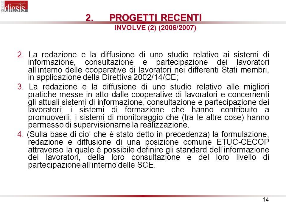 PROGETTI RECENTI INVOLVE (2) (2006/2007)