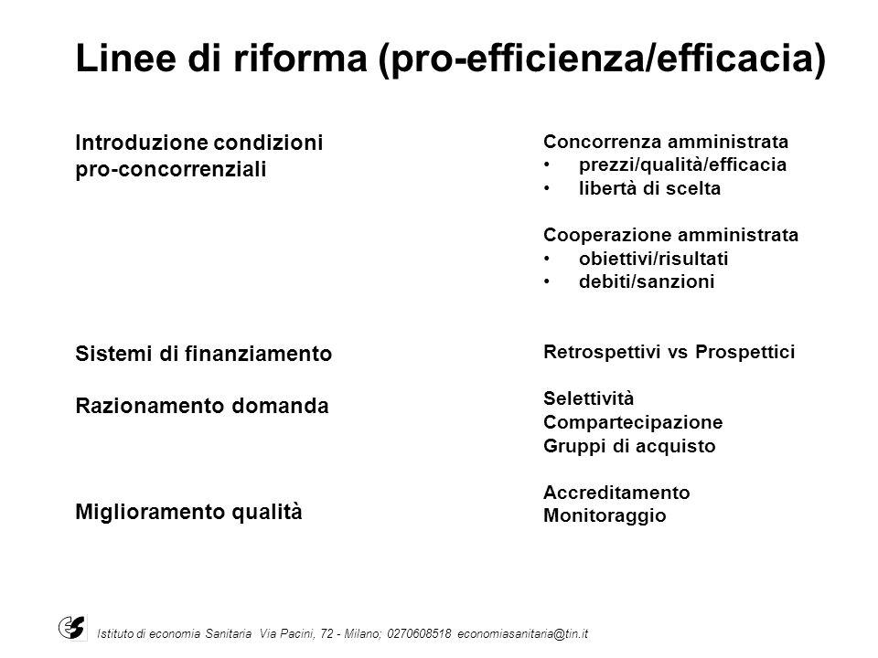 Linee di riforma (pro-efficienza/efficacia)
