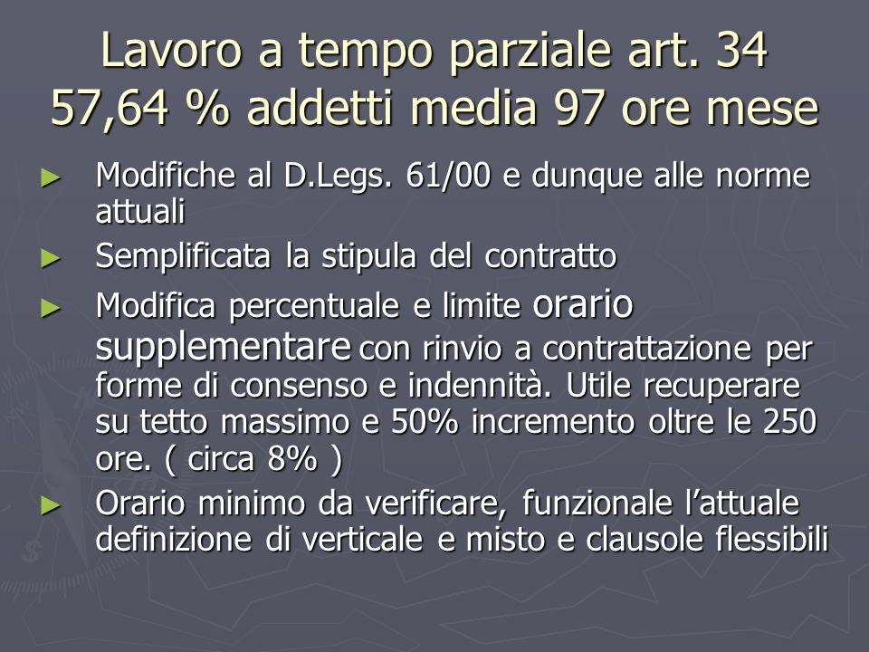 Lavoro a tempo parziale art. 34 57,64 % addetti media 97 ore mese