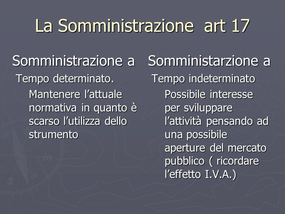 La Somministrazione art 17