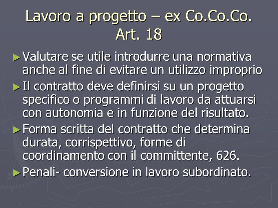 Lavoro a progetto – ex Co.Co.Co. Art. 18