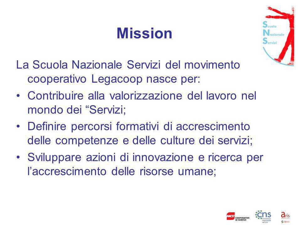 Mission La Scuola Nazionale Servizi del movimento cooperativo Legacoop nasce per: Contribuire alla valorizzazione del lavoro nel mondo dei Servizi;