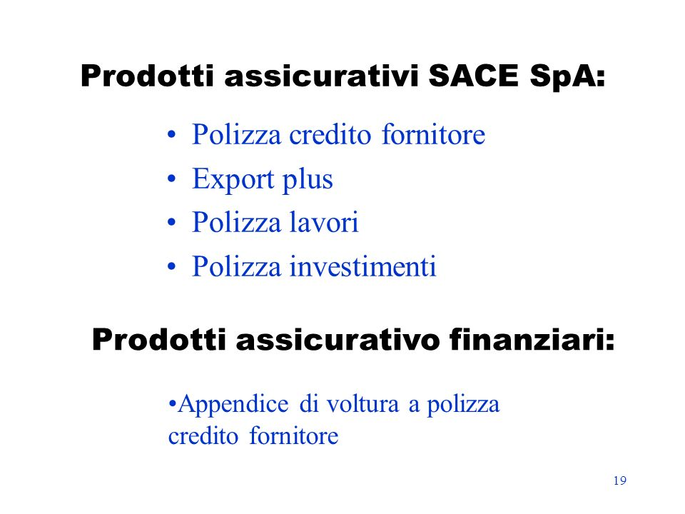 Prodotti assicurativi SACE SpA: