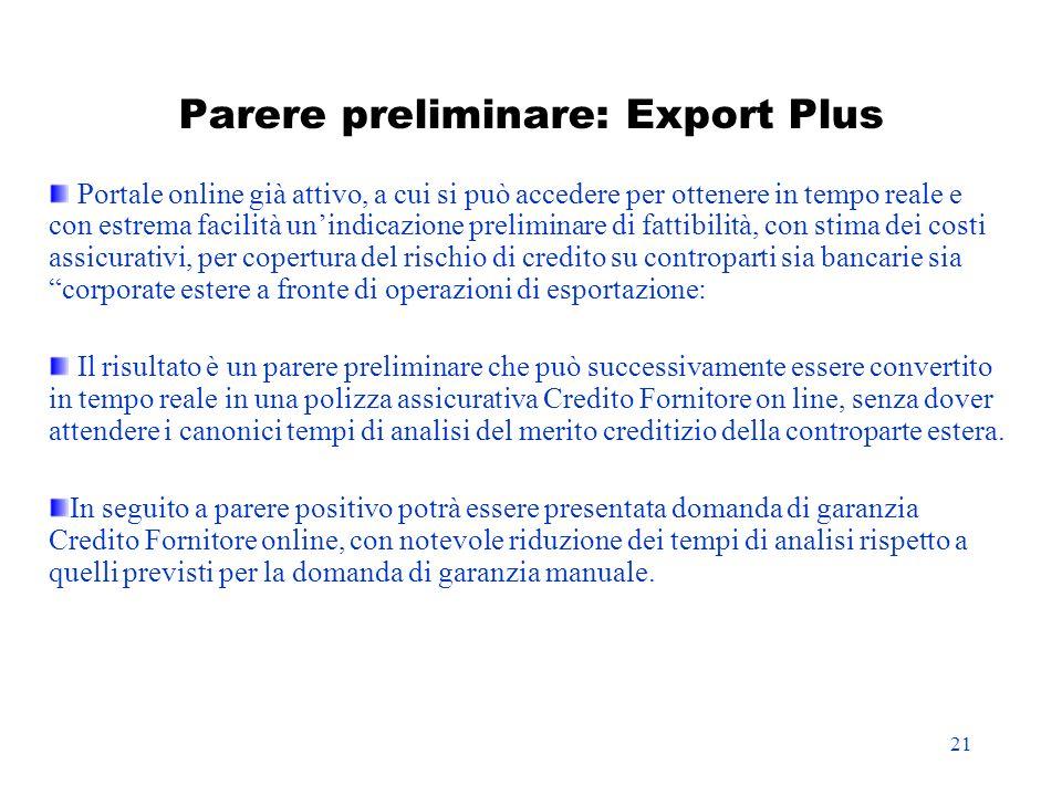 Parere preliminare: Export Plus