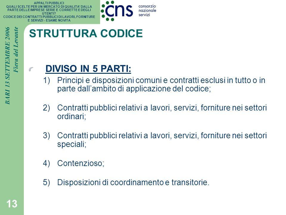 STRUTTURA CODICE DIVISO IN 5 PARTI: