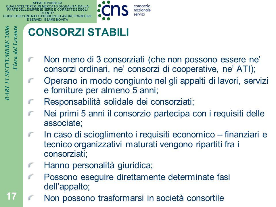 CONSORZI STABILI Non meno di 3 consorziati (che non possono essere ne' consorzi ordinari, ne' consorzi di cooperative, ne' ATI);