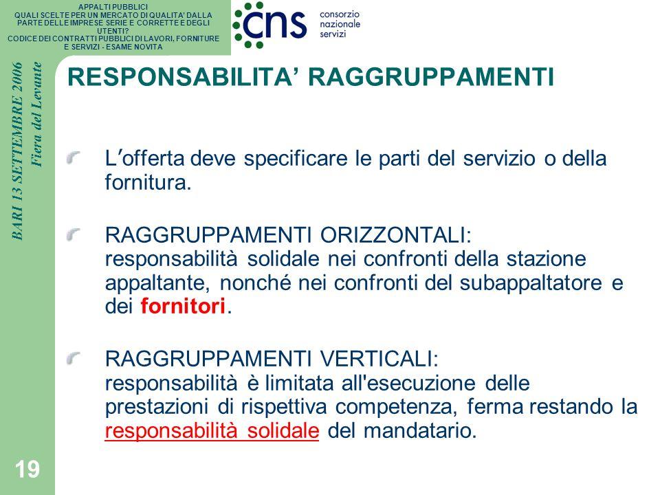 RESPONSABILITA' RAGGRUPPAMENTI