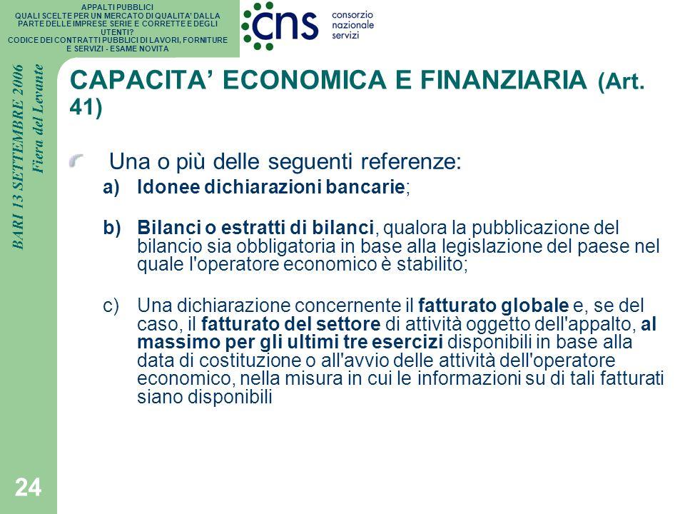CAPACITA' ECONOMICA E FINANZIARIA (Art. 41)