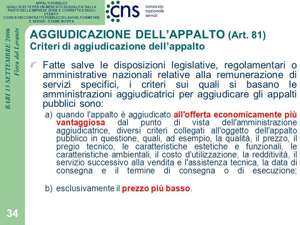 AGGIUDICAZIONE DELL'APPALTO (Art