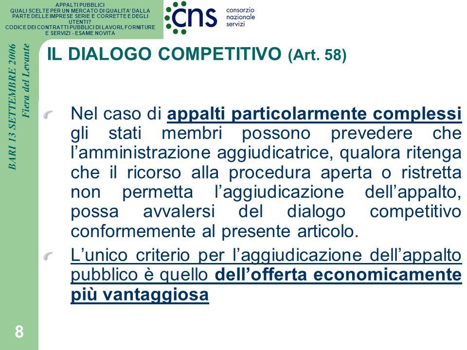IL DIALOGO COMPETITIVO (Art. 58)