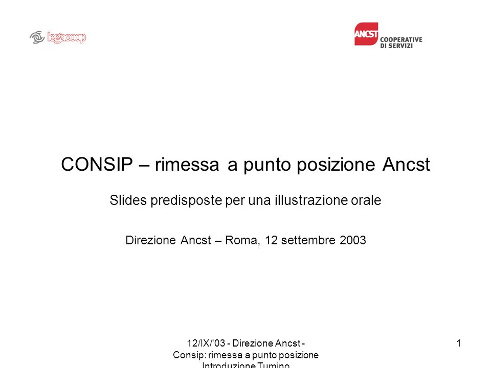 Direzione Ancst – Roma, 12 settembre 2003