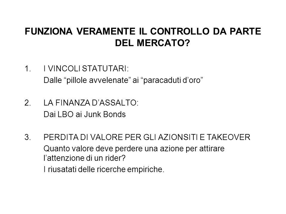FUNZIONA VERAMENTE IL CONTROLLO DA PARTE DEL MERCATO