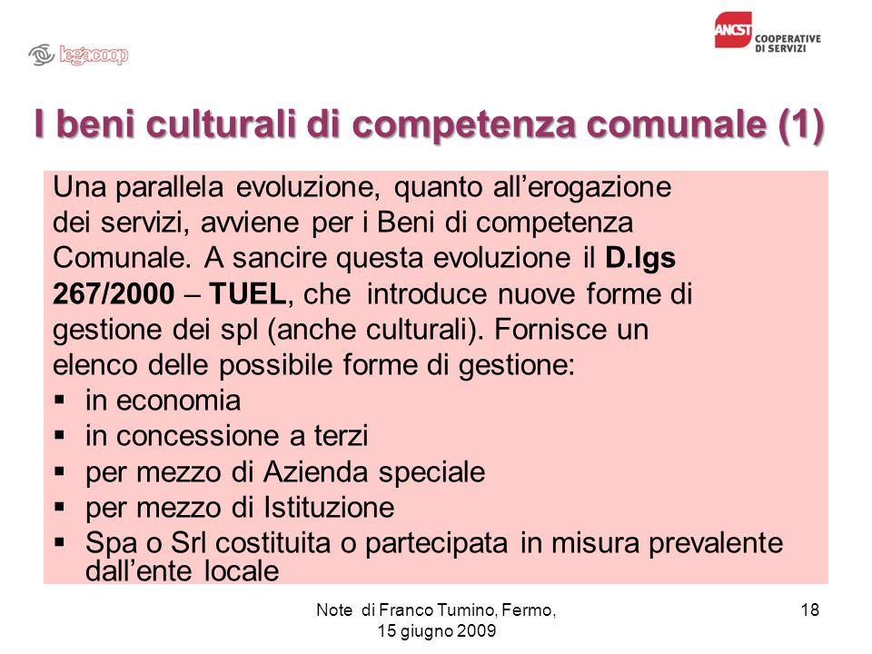 I beni culturali di competenza comunale (1)