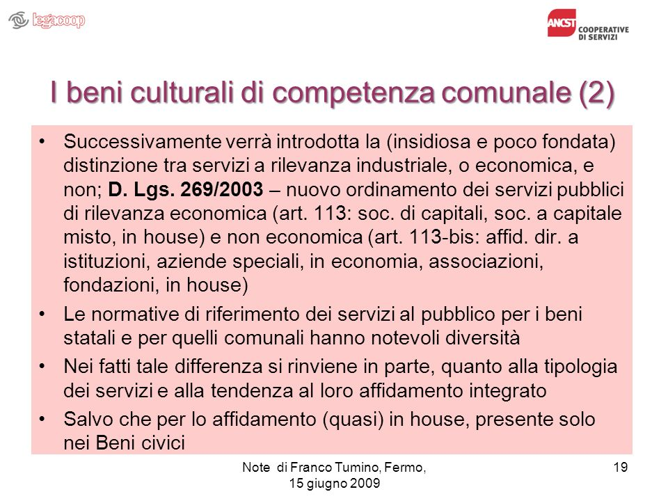 I beni culturali di competenza comunale (2)