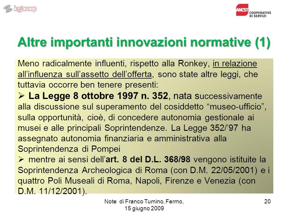 Altre importanti innovazioni normative (1)