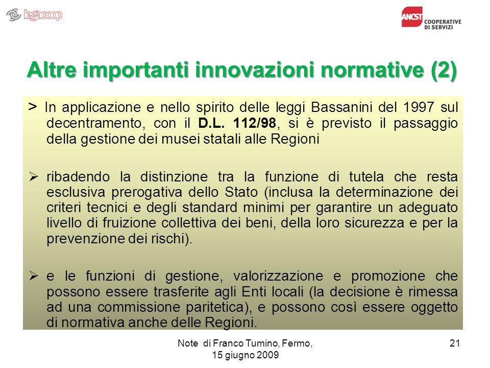 Altre importanti innovazioni normative (2)