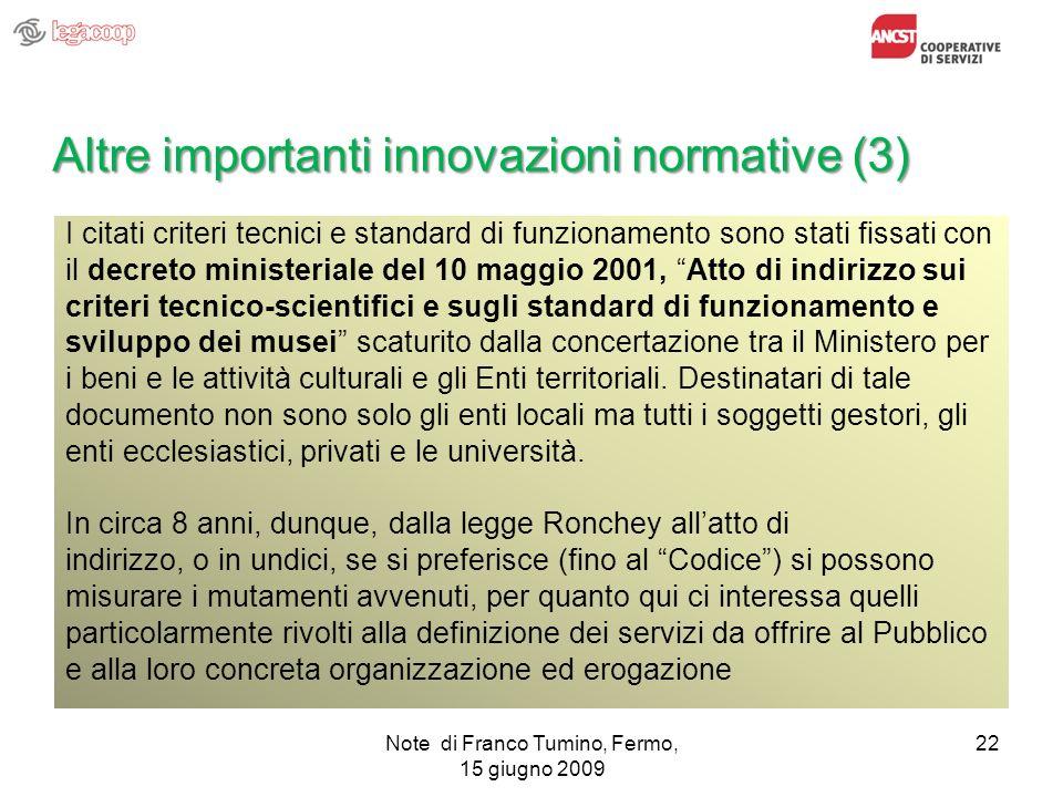 Altre importanti innovazioni normative (3)
