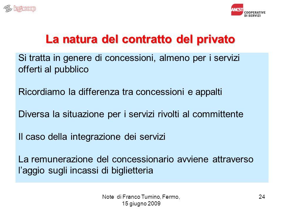 La natura del contratto del privato