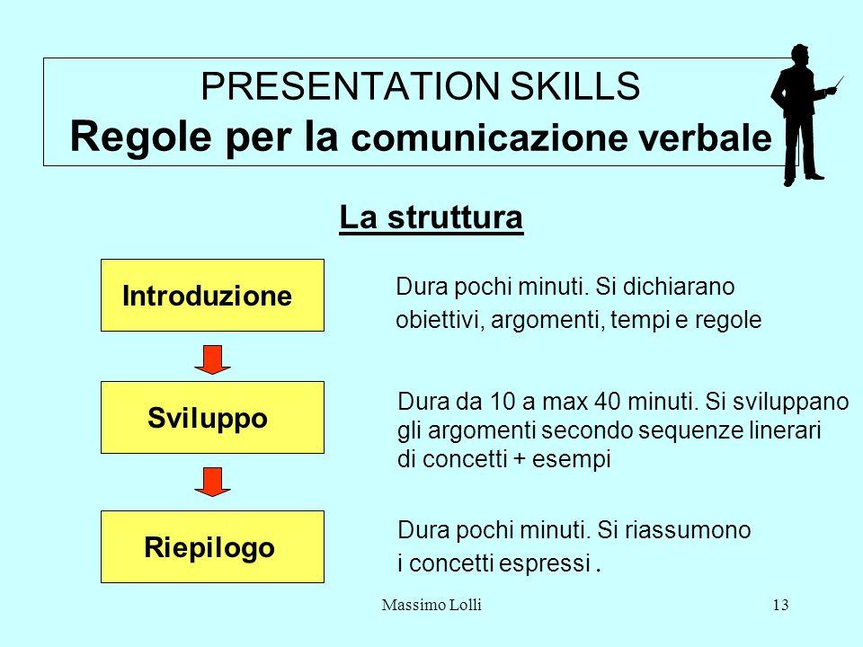 PRESENTATION SKILLS Regole per la comunicazione verbale