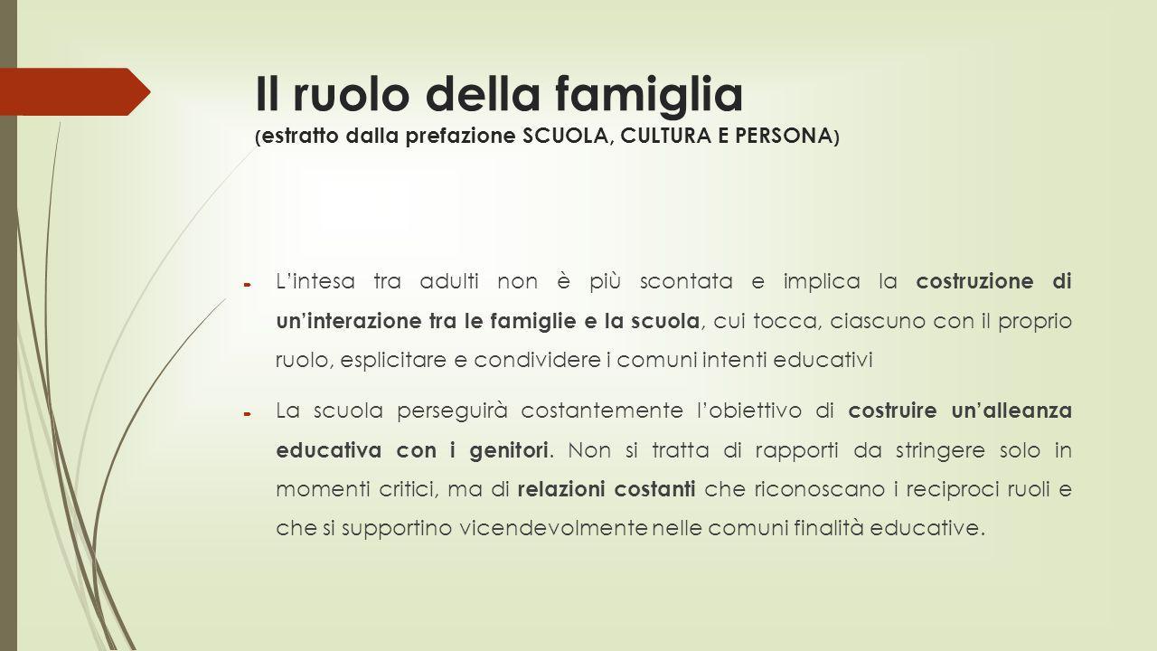 Il ruolo della famiglia (estratto dalla prefazione SCUOLA, CULTURA E PERSONA)