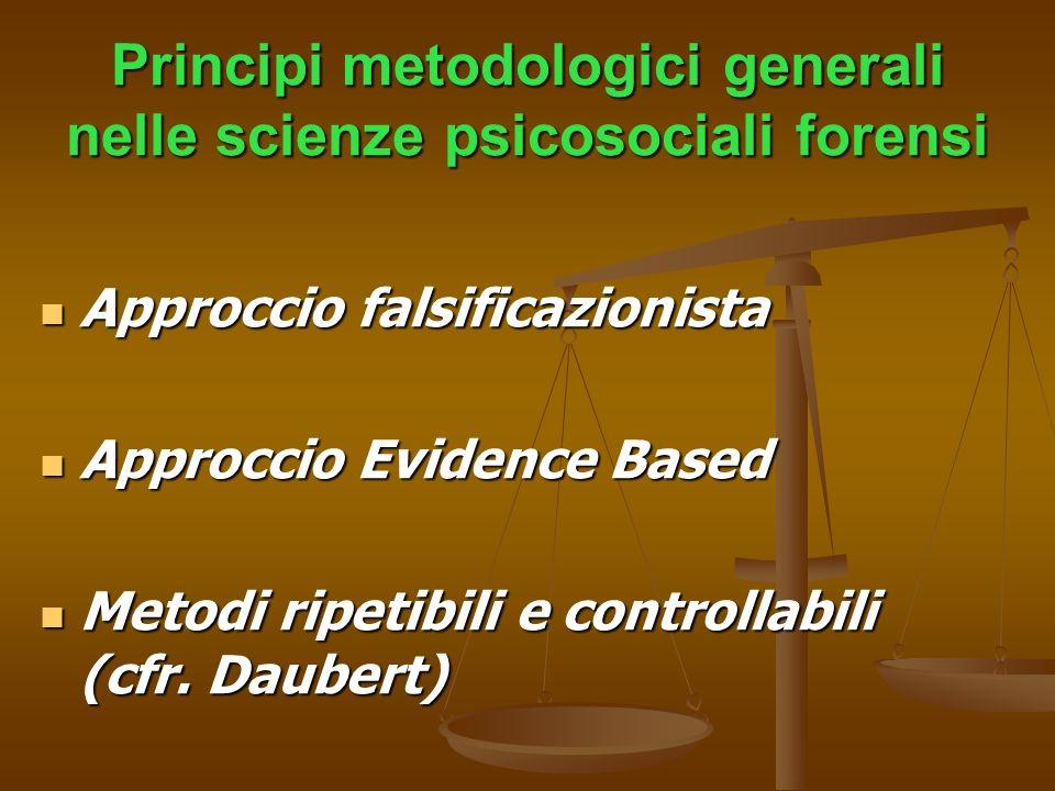 Principi metodologici generali nelle scienze psicosociali forensi