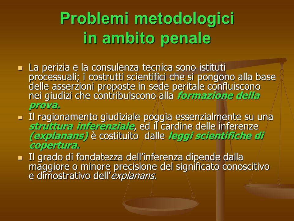 Problemi metodologici in ambito penale