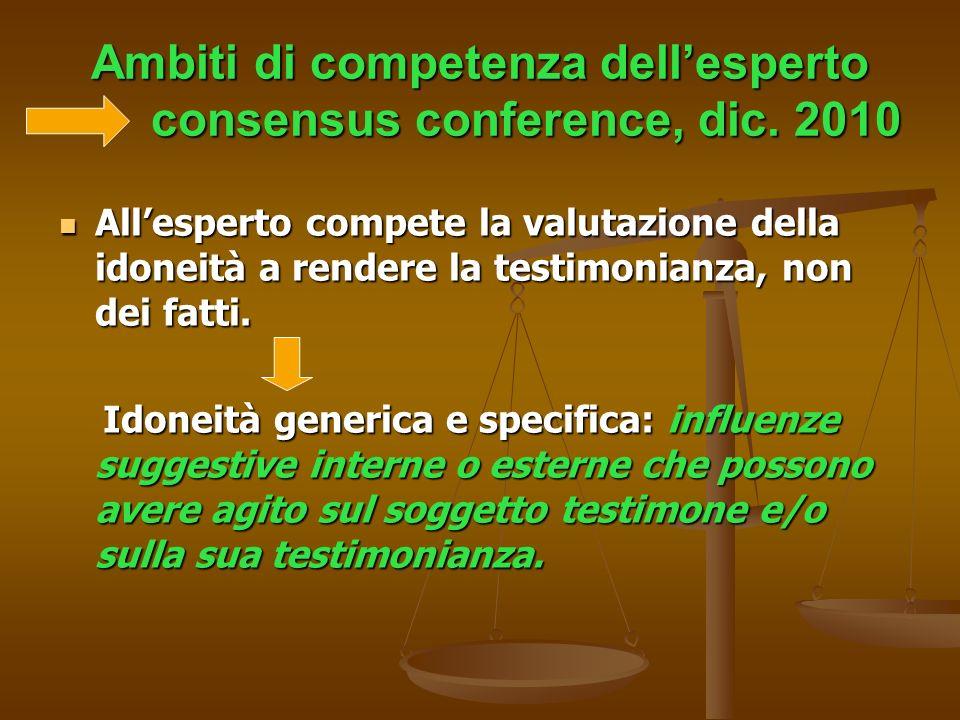 Ambiti di competenza dell'esperto consensus conference, dic. 2010