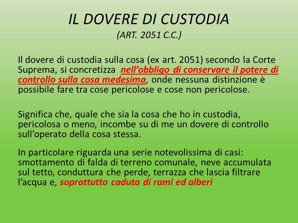 IL DOVERE DI CUSTODIA (ART. 2051 C.C.)