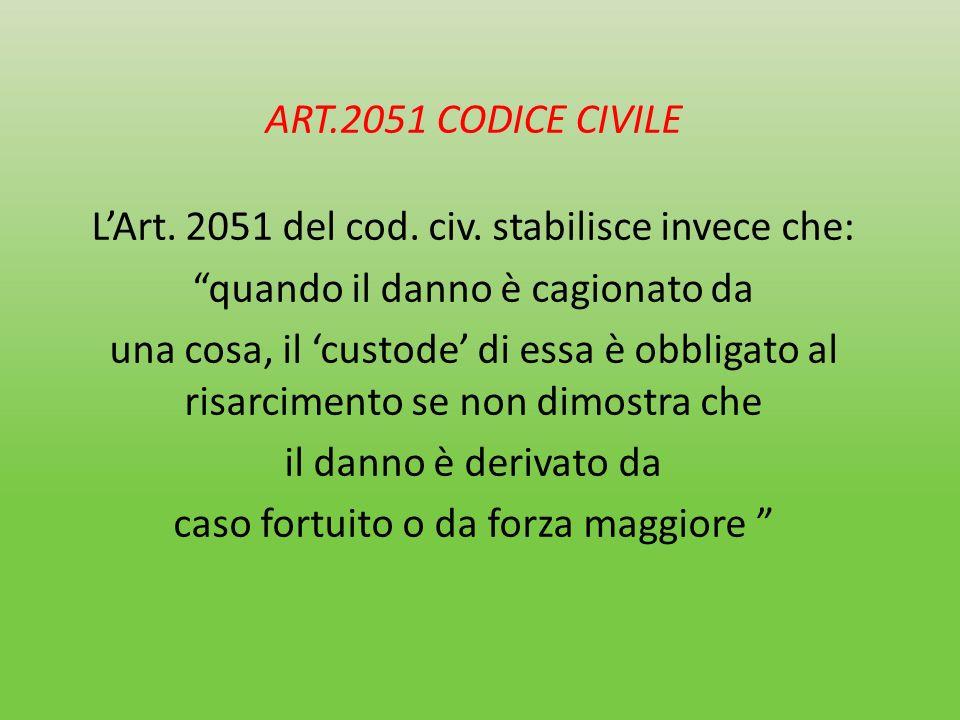 ART. 2051 CODICE CIVILE L'Art. 2051 del cod. civ