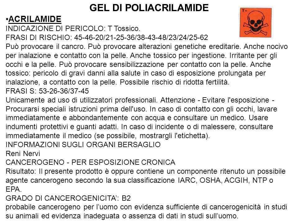 GEL DI POLIACRILAMIDE ACRILAMIDE INDICAZIONE DI PERICOLO: T Tossico.