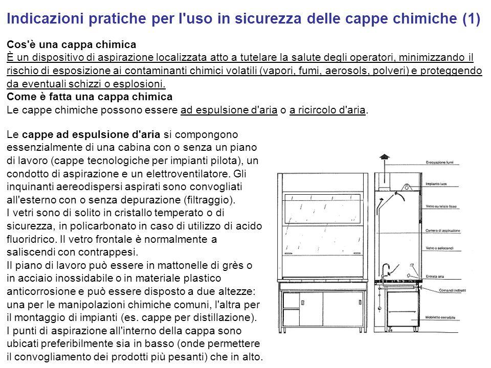 Indicazioni pratiche per l uso in sicurezza delle cappe chimiche (1)
