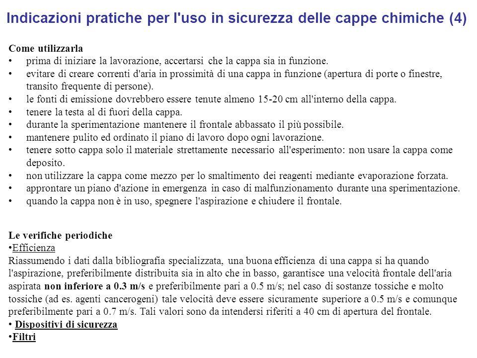 Indicazioni pratiche per l uso in sicurezza delle cappe chimiche (4)