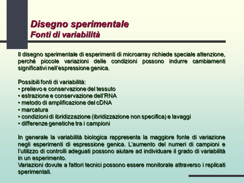 Disegno sperimentale Fonti di variabilità