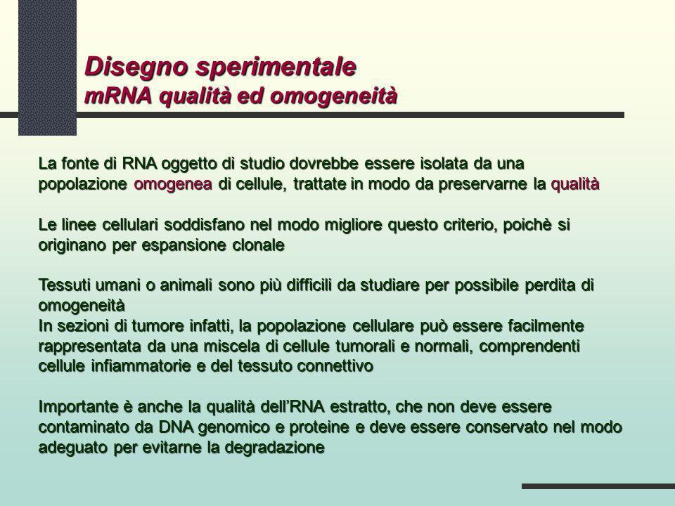 Disegno sperimentale mRNA qualità ed omogeneità