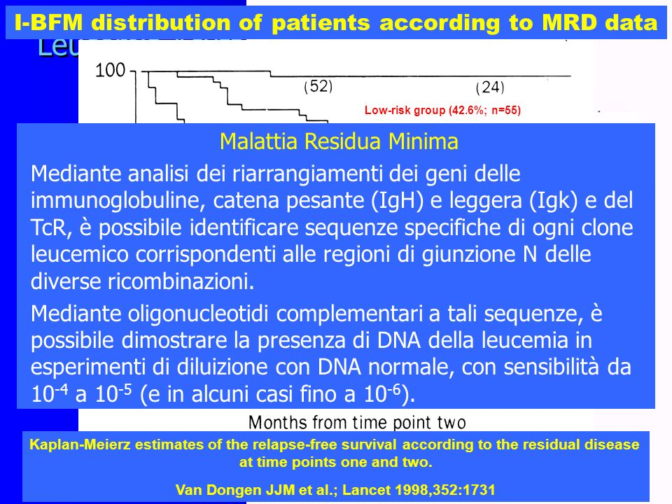 I-BFM distribution of patients according to MRD data
