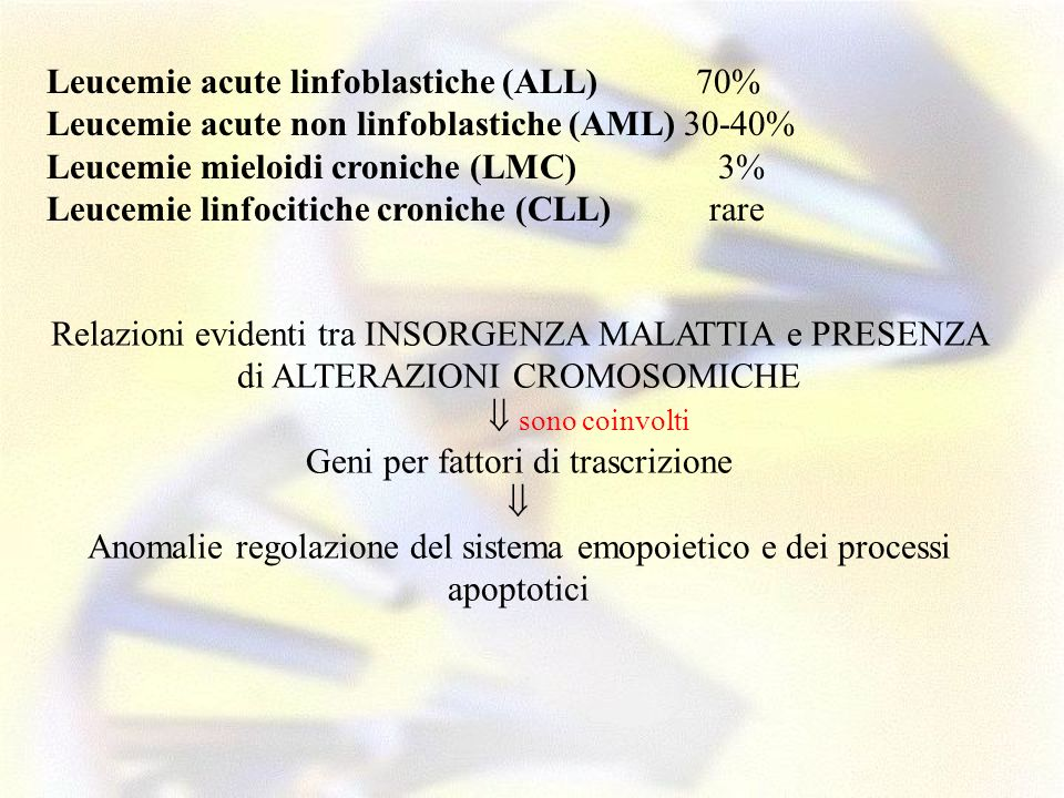 Leucemie acute linfoblastiche (ALL) 70%