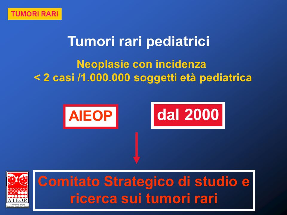 dal 2000 Tumori rari pediatrici AIEOP Comitato Strategico di studio e