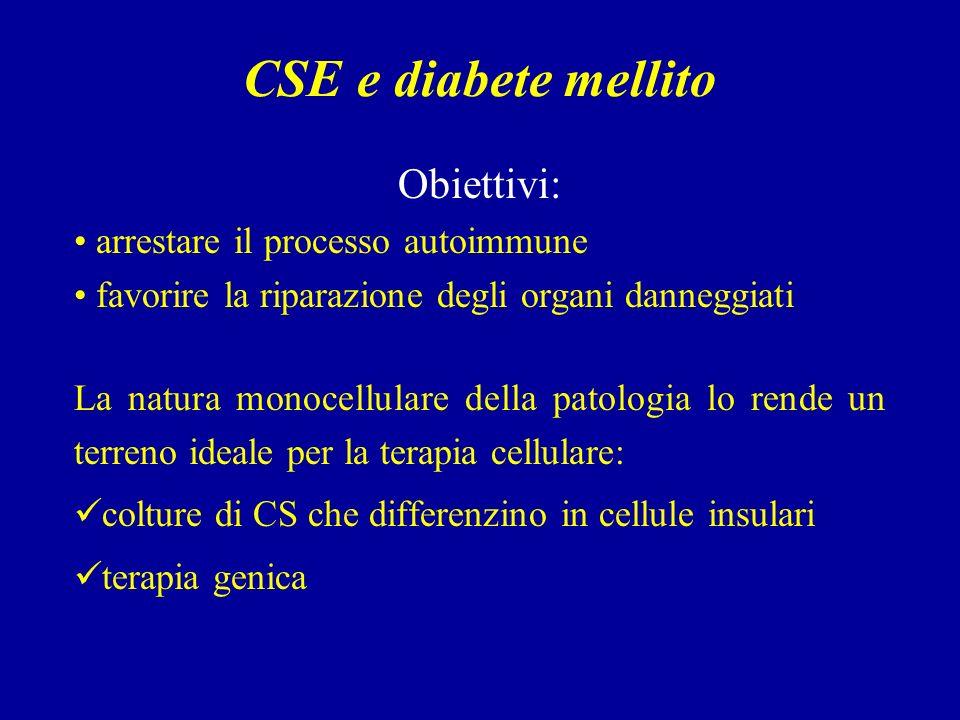 CSE e diabete mellito Obiettivi: arrestare il processo autoimmune