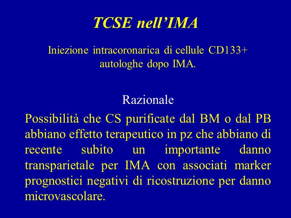 Iniezione intracoronarica di cellule CD133+ autologhe dopo IMA.