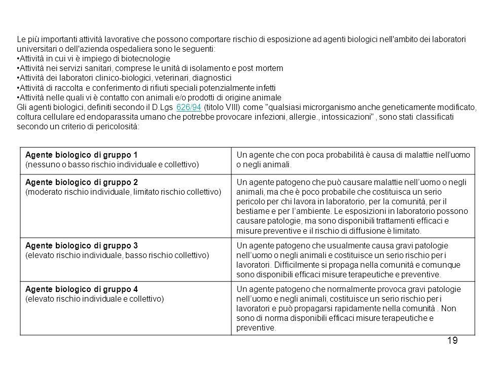 Le più importanti attività lavorative che possono comportare rischio di esposizione ad agenti biologici nell ambito dei laboratori universitari o dell azienda ospedaliera sono le seguenti: