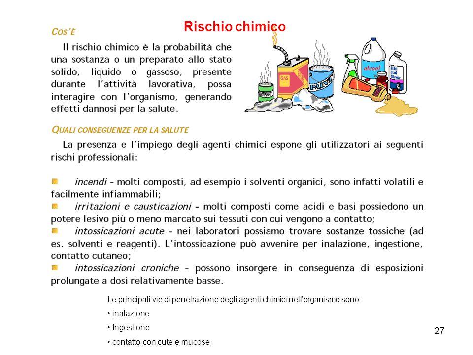 Rischio chimico Le principali vie di penetrazione degli agenti chimici nell'organismo sono: inalazione.