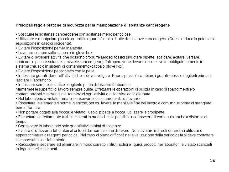 Principali regole pratiche di sicurezza per la manipolazione di sostanze cancerogene